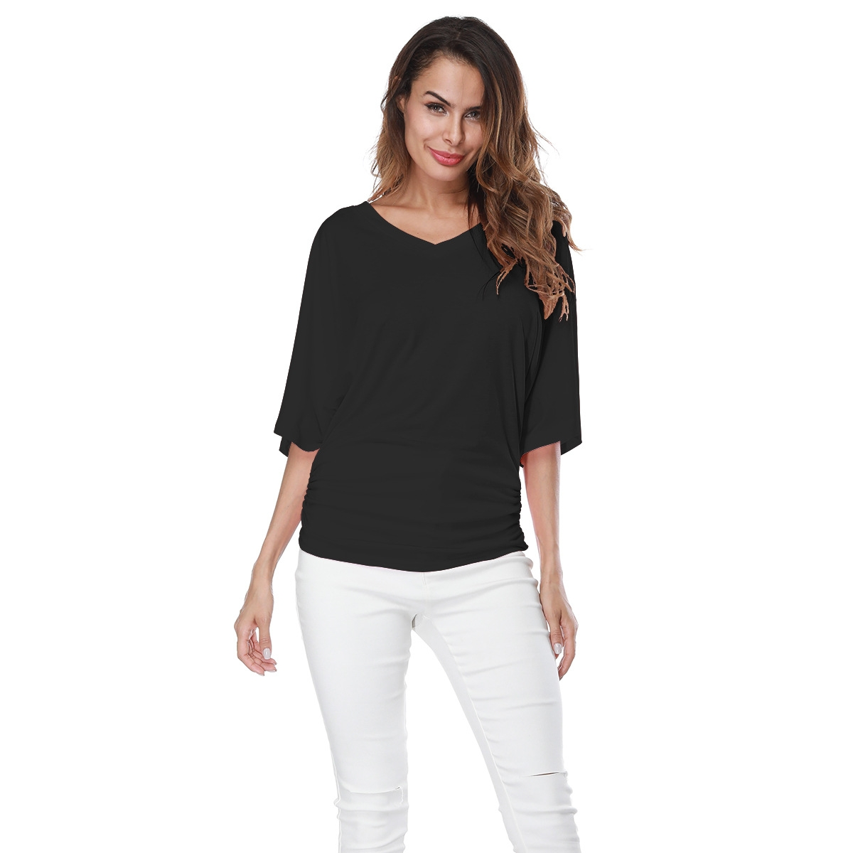 07356e0c2a8 Large Size Women Fashion Loose Bat Sleeve V-neck Short Sleeved T-shirt Top  black s  Product No  1857504. Item specifics  Brand