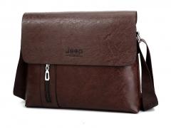 New Leather Men Bag Jeep Shoulder Bag Cross Section Leather Handmade Messenger Bag Jeep browm 33cm-27cm-6cm
