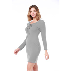 2018 Autumn and Winter New Dress Long Sleeved Sexy Bag Hip Knit Dress Female Colthes l gray