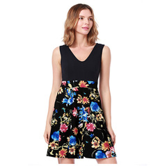 2018 Summer Womens Sexy Print Dress Womens Clothing xl black blue