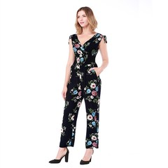 2018 Summer New Jumpsuit Printing Sexy V-neck Jumpsuit Trousers Women Clothes blue xl