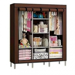 3 Columns Portable Wardrobe  - Brown