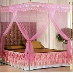 Mosquito net with straight metallic stands - pink 6*6