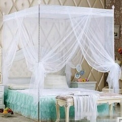 Mosquito net with straight metallic stands - white 4*6