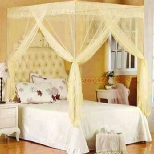Mosquito net with straight metallic stands - Cream 6*6