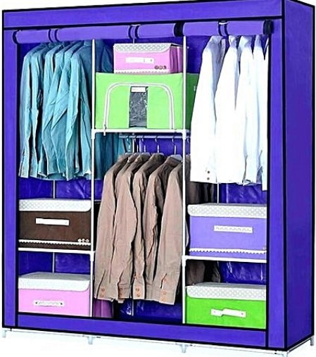 3 Columns Portable Wardrobe  - blue
