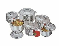 New Stainless Steel Food Server Hot Pot Set Casserole - Silver 6 Pieces