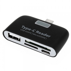 T-639 USB 3.1 TYPE-C OTG Card Reader HUB SD/TF Memory Card Extension type-c USB to USB White Normal