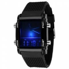 Colorful LED Luminous Watches Double Show Electronic Watches Sports Watch Black one size
