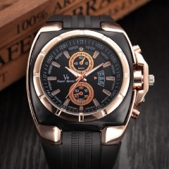 V8 watches men luxury fashion brand wristwatches mens rubber casual Sports watches black+gold one size