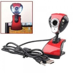 USB 50 Mega 6 LED HD Webcam Camera Web Cam with MIC for Computer PC Laptop Drive-free red+black one size
