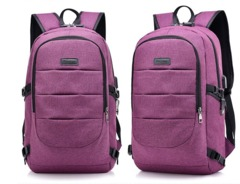 FH Brand 17-Inch Bag Business Laptop Backpack,Waterproof USB Charging Port & Headphone interface purple 17-Inch