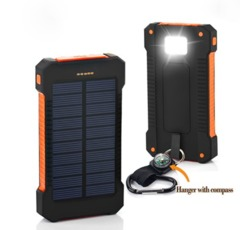 Solar Power Bank Waterproof 20000mAh Powerbank for iphone HuaWei Sumsung Smartphone with LED Light black 20000mah