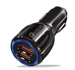 Car USB Charger Quick Charge Mobile Phone Charger USB Fast Car Charger for iPhone Tablet Car-Charger black one size