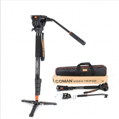 Professional Coman Aluminum Alloy Video Tripod Monopod with Fluid Pan Head Unipod Holder for DSLR as picture as picture