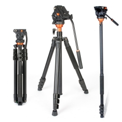 Coman DF06 Professional Camera Tripod with Fulid Damping Parnoramic Head Monopod for DSLR Camcorder as picture as picture