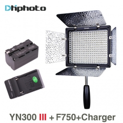 YONGNUO YN300 III 3200K to 5500K LED Video Light with NP-F750 battery Charger for Canon Nikon as picture as picture