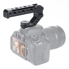 Aluminum DSLR Top Handle Grip w 3 Cold Shoe Mounts 1/4'' 3/8'' for Monitor Microphone Video Light