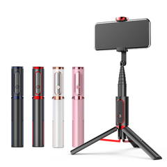 Smartphone Bluetooth Selfie Stick Tripod with Bluetooth Remote Control Tripode Monopod white as picture