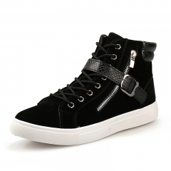 Men Fashion Sneakers 2018 Men's High Top Boots Male Casual Canvas Shoes black 39