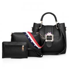 2018 Women Handbags PU Leather Women Shoulder Messenger Corssbody Bag Ladies Fashion 3pics/Set Bag Black 26*12*25 cm