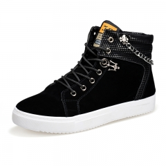 Men Fashion Sneakers 2018 Men's High Top Boots Male Casual Canvas Shoes black 38