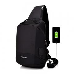 Men USB Sling Bag Waterproof  Messengers Crossbody Bags Anti Theft Backpack Bag Black 22*12*36