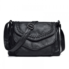 Women Casual Shoulder Bags Women Black Leather Handbags Ladies Shoulder Messenger Bag black 26*10*20 cm