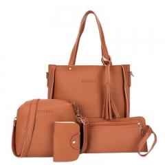 Women Bag Set Top-Handle Big Capacity Female Tassel Handbag Fashion Shoulder Bag Purse Brown 25*8*26 cm