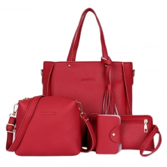Women Bag Set Top-Handle Big Capacity Female Tassel Handbag Fashion Shoulder Bag Purse red 25*8*26 cm