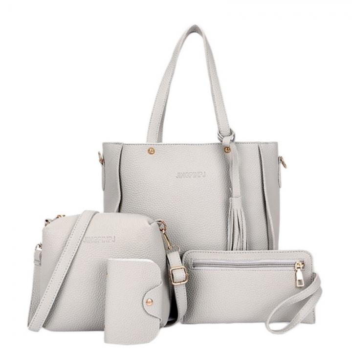 Women Bag Set Top-Handle Big Capacity Female Tassel Handbag Fashion Shoulder Bag Purse Grey 25*8*26 cm