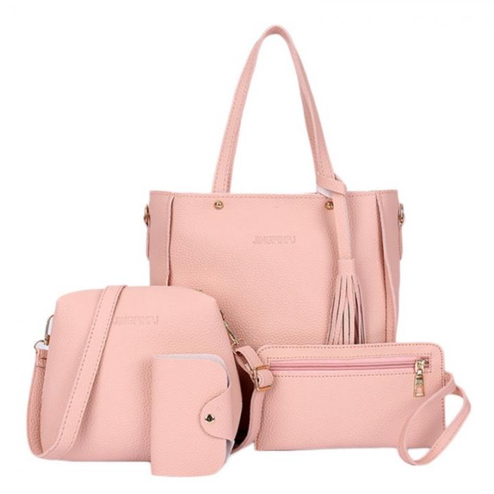 Women Bag Set Top-Handle Big Capacity Female Tassel Handbag Fashion Shoulder Bag Purse Pink 25*8*26 cm