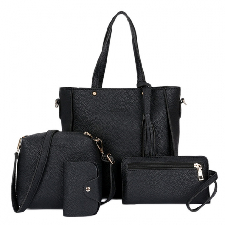 Women Bag Set Top-Handle Big Capacity Female Tassel Handbag Fashion Shoulder Bag Purse black 25*8*26 cm