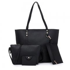 Women Shoulder Handbag 4pics Set Women Large Capacity Bag Ladies Crossbody Messenger Handbag Bags black 30*12*40 cm