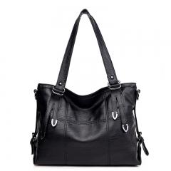 Women Shoulder Handbag Large Capacity PU Leather Women Fashion Shoulder Bag Handbags black one Szie