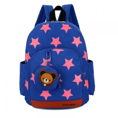 Cute Starts Printed Kids Bags Fashion Nylon Children Backpacks for Kindergarten School Backpacks BLUE