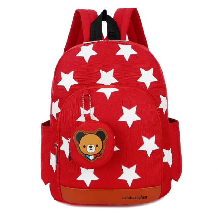 Cute Starts Printed Kids Bags Fashion Nylon Children Backpacks for Kindergarten School Backpacks RED
