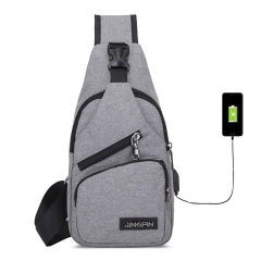 USB Canvas Men Women Chest Pack Crossbody Bag Small Sling Bags grey 17.5*8*32.5cm