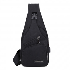 USB Canvas Men Women Chest Pack Crossbody Bag Small Sling Bags black 17.5*8*32.5cm