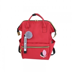 Waterproof Canvas Backpack Small Fresh Female On Korean College Student Travel Backpack Bag tide red 25*15*37cm