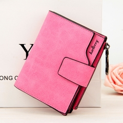 Wallet Women Vintage Fashion Small Wallet Leather Purse Female Money Bag Small Zipper Coin Pocket Rose red one size