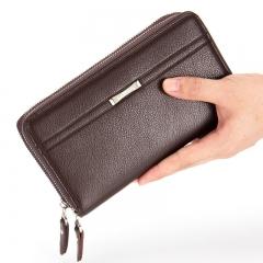 Men wallets long zipper purse for men clutch business Male Wallet Vintage Large Wallet Purse Coffee one size