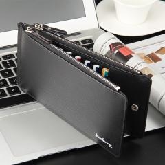leather long wallet men pruse male clutch zipper around wallets men money bag pocket mltifunction Black(cross pattern) one size