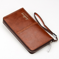 Card holder Leather Wallet men Long Fashion Casual Mens Purse Zipper Multi-function coin Wallets Deep coffee one size