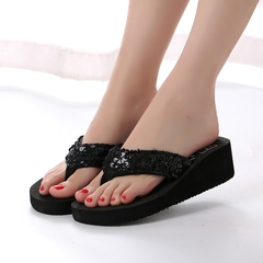 Women's Slippers Sequins Decoration Thick Sole Open Toe Casual Slippers black 36
