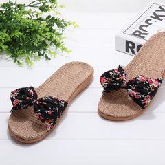 Women's soft linen slippers floral bowknot decor sweet mute Antiskid summer comfy home slippers black 35-36