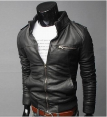 Men's motorcycle leather 2018 autumn winter new fashion leather jacket Korean style overcoat black xxl