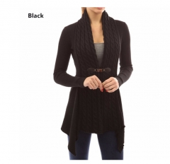 Women autumn winter coat dress long sleeve business casual sweater new fashion sexy cardigan jacket black s