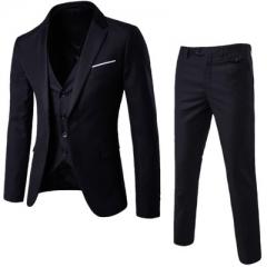 High Quality Men SuitsThree Piece Blazer&Vest&Pants Bridegroom Groomsman Business Casual  Plus Size black xl