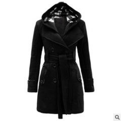 Ladies new style overcoat waist belt coat winter autumn long sleeve dresses plus size sweater jacket black s